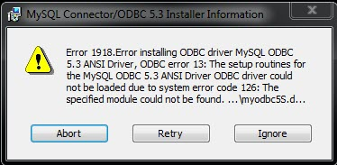 Error 1918 installing MySQL connector – Narrative1